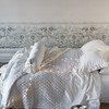 Velvet with Satin Quitled Queen Coverlet in Winter White, Trecento Queen Fitted Sheet in Winter White, Trecento Queen Flat Sheet in Winter White, Trecento Standard Pillowcases in Winter White, Velvet with Satin Ruffle Standard Shams in Winter White, Gabriella Bolster in Winter White, Mirabella Personal Comforter in Winter White