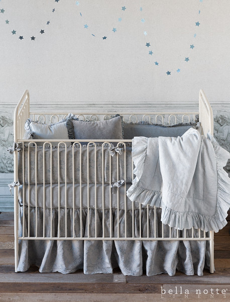 Pennelope Baby Bumper in Mineral, Madera Crib Sheet Mineral, Pennelope Baby Dust Ruffle Mineral, Pennelope Baby Blanket in Silvermist, Velvet with Satin Ruffle Boudoir in Mineral, Velvet with Satin Ruffle Boudoir in Silvermist