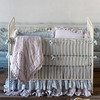 Gabriella Crib Bumper in Silvermist, Linen Crib Sheet in Silvermist, Linen Whisper Crib Dust Ruffle in Silvermist, Linen Whisper Crib Dust Ruffle in Pebble, Gabriella Baby Comforter in Pebble, Linen Whisper Kidney Pillow in Pebble
