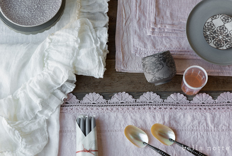 Linen Whisper Tablecloth in Winter White, Linen with Crochet Lace Tablecloth in Heirloom Rose, Pennelope Placemats in Heirloom Rose, Linen Placemats in Heirloom Rose, Homespun Placemats in Heirloom Rose