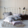 Gabriella Euro Shams in Mineral, Emma Standard Pillowcase in Pebble, Gabriella Standard Pillowcase Pebble, <br /> Hayden Standard Sham in Mineral, Linen with Crochet Lace Kidney Pillow in Powder