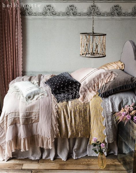 Velvet with Satin Ruffle Deluxe Sham in French Grey, Colette Euro Sham in Heirloom Rose, Valentina Deluxe Sham in Heirloom Rose, Silk Velvet Embroidered Standard Pillowcase in French Grey, Linen Standard Pillowcase in Pebble, Colette Queen Duvet Cover in Powder, Valentina Personal Comforter in Powder, Valentina Kidney Pillow in Pebble, Linen Queen Dust Ruffle in Pebble, Linen with Crochet Lace Queen Flat Sheet in Pebble, Linen Queen Fitted Sheet in Pebble, Silk Velvet Embroidered Curtain in Heirloom Rose, Headboard Upholstered with Linen Yardage in French Grey