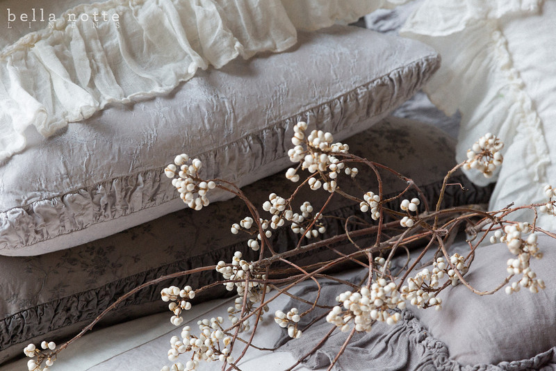 Pennelope Euro Sham with Ruching in Pebble, Linen Whisper Standard Sham in Winter White, Pennelope Standard Sham with Ruching in French Grey, Linen Queen Fitted Sheet in Winter White, Linen Queen Flat Sheet in Winter White, Linen Whisper Kidney Pillow in French Grey