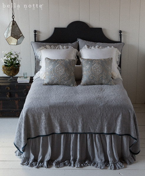 Adele Deluxe Shams in Mineral, Linen Whisper Euro Shams in Winter White, Nina Square Throw Pillows in Cool, Adele Queen Coverlet in Mineral, Madera Queen Fitted Sheet in Winter White, Madera Queen Flat Sheet in Winter White, Linen Whisper Queen Dust Ruffle in Mineral