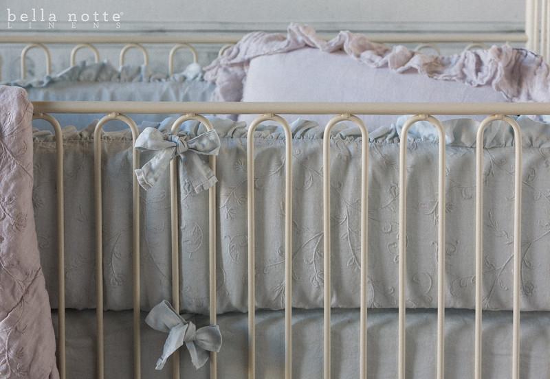 Gabriella Crib Bumper in Silvermist, Linen Crib Sheet in Silvermist, Gabriella Baby Comforter in Pebble, Linen Whisper Kidney Pillow in Pebble