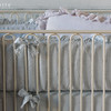 Gabriella Crib Bumper in Silvermist, Linen Crib Sheet in Silvermist, Gabriella Baby Comforter in Pebble, Linen Whisper Kidney Pillow in Pebble