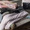 Sophia Personal Comforter in Heirloom Rose, Sophia Personal Comforter in French Grey, Velvet with Satin Ruffle Large Throw Blanket in Mineral, Pennelope Personal Comforter in Powder,Emma Standard Pillowcase in Heirloom Rose, Silk Velvet Quilted Kidney Pillow in French Grey