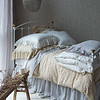 Gabriella Queen Duvet Cover in Winter White, Gabriella Queen Duvet Cover in Sand, Linen Queen Fitted Sheet in Pebble<br /> Linen Queen Flat Sheet in Pebble, Gabriella Deluxe Shams in Sand, Gabriella Euro Shams in Winter White, Gabriella Standard Pillowcases in Pebble, Linen Whisper Queen Dust Ruffle in Pebble