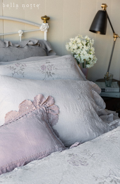 Gabriella Euro Sham in Mineral, Emma Standard Pillowcase in Pebble, Gabriella Standard Pillowcase Pebble, <br /> Hayden Standard Sham in Mineral, Linen with Crochet Lace Kidney Pillow in Powder, Emma Queen Duvet Cover in Pebble