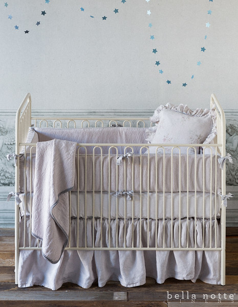 Adele Bumper in Pebble, Madera Crib Sheet in Pebble, Linen Crib Dust Ruffle in Pebble, Adele Baby Blanket in Pebble,<br /> Emma 18x18 Pillow in Pebble