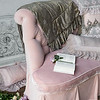 Upholstered Settee - Heirloom Rose Cotton Velvet yardage and Heirloom Rose Silk Velvet yardage, Olivia Boudoir in French Grey over Linen Boudoir in Heirloom Rose, Olivia Boudoir in Heirloom Rose over Linen Boudoir in French Grey, Olivia Boudoir in Powder <br /> Linen Boudoir in French Grey, Valentina Kidney Pillow in Heirloom Rose, Valentina Kidney Pillow in Powder, Mirabella Personal Comforter in French Grey