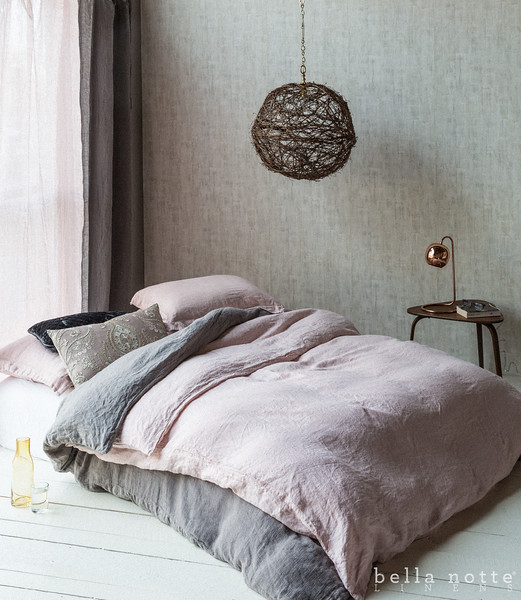 Linen Queen Duvet Cover in Heirloom Rose, Homespun Queen Duvet Cover in French Grey, Homespun Euro Shams with Flange in Heirloom Rose, Linen Standard Shams in Heirloom Rose, Linen Queen Fitted Sheet in White, Nina Accent Pillow in Warm, Silk Velvet Quilted Kideny Pillow in French Grey, Linen Whisper Curtain in Heirloom Rose, Linen Whisper Curtain in French Grey