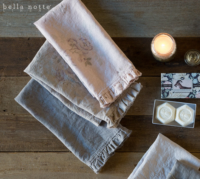 Emma Hand Towel in French Grey, Emma Hand Towel in Flax, Emma Hand Towel in Heirloom Rose