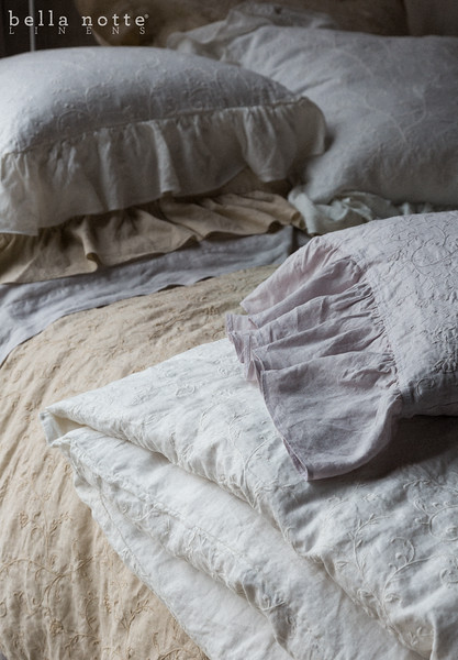 Gabriella Queen Duvet Cover in Winter White; Gabriella Queen Duvet Cover in Sand; Linen Queen Flat Sheet in Pebble; Gabriella Deluxe Shams in Sand; Gabriella Euro Shams in Winter White; Gabriella Standard Pillowcase in Pebble