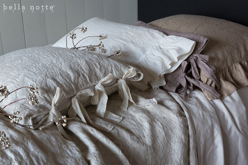 Gabriella Deluxe Sham in Ginger, Marguerite Accent Pillow in Flax, Gabriella Standard Pillowcase in Winter White, Marguerite Euro Sham in Winter White, Gabriella Queen Duvet Cover in Winter White, Trecento Queen Fitted Sheet in Winter White, Trecento Queen Flat Sheet in Winter White, Marguerite Queen Coverlet in Winter White,