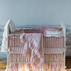 Velvet with Satin Ruffle Bumper in Heirloom Rose, Madera Crib Sheet in Heirloom Rose, Linen Whisper Baby Dust Ruffle in Heirloom Rose, Linen Whisper Baby Dust Ruffle in Winter White, Linen Whisper Baby Comforter in Heirloom Rose, <br /> Linen Whisper Baby Comforter in Winter White, Olivia Boudoir in Heirloom Rose over, Linen Boudoir in Winter White, <br /> Silk Velvet Quilted Kidney Pillow in Heirloom Rose, Velvet with Satin Boudoir in Heirloom Rose