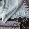 Linen With Crochet Lace Tablecloth in Winter White, Pennelope Napkins in Heirloom Rose