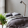 Homespun Queen Duvet Cover in French Grey, Homespun Euro Shams with Flange in French Grey, Trecento Queen Fitted Sheet in Winter White, Trecento Queen Flat Sheet in Winter White, Trecento Standard Pillowcases in Winter White, <br /> Linen Standard Pillowcases in Pebble, Silk Velvet Quilted Kidney Pillows in French Grey, Harper Bolster