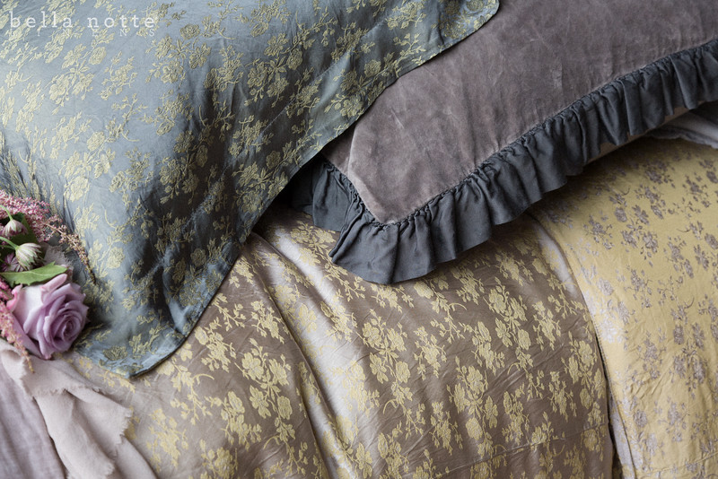 Velvet with Satin Ruffle Deluxe Sham in French Grey, Colette Euro Sham in French Grey, Colette Queen Duvet Cover in Powder, Valentina Personal Comforter in Powder