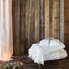 Sophia Personal Comforter in White, Valentina Personal Comforter in White, Velvet Boudoir Pillow with Satin Ruffle in White