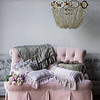 Upholstered Settee - Heirloom Rose Cotton Velvet yardage and Heirloom Rose Silk Velvet yardage, Olivia Boudoir in French Grey over Linen Boudoir in Heirloom Rose, Olivia Boudoir in Heirloom Rose over Linen Boudoir in French Grey, Olivia Boudoir in Powder <br /> Linen Boudoir in French Grey, Valentina Kidney Pillow in Heirloom Rose, Valentina Kidney Pillow in Powder, Valentina Kidney Pillow in French Grey, Mirabella Personal Comforter in French Grey