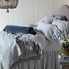 Linen Whisper Deluxe Shams in Mineral, Marguerite Euros in Silvermist, Linen Whisper Standard Shams in Silvermist. Linen Queen Flat Sheet in Silvermist, Linen Queen Fitted Sheet in Silvermist, Loulah Bolster in Mineral, Linen Whisper Queen Duvet Cover in Mineral, Marguerite Queen Coverlet in Silvermist, Linen Queen Dust Ruffle in Silvermist
