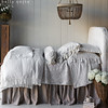 Marguerite Queen Coverlet in Winter White, Linen Whisper Queen Duvet Cover in Winter White, Marguerite Euro Shams in Winter White, Linen Whisper Euro Shams in Winter White, Homespun Standard Shams with Flange in Winter White, <br /> Linen Queen Fitted Sheet in Winter White, Linen Queen Flat Sheet in Winter White, Harper Queen Dust Ruffle, Loulah Bolster in French Grey, Linen with Crochet Lace Pillowcase in Winter White