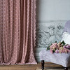 Silk Velvet Embroidered Curtain in Heirloom Rose, Valentina Kidney Pillow in Powder