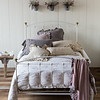 Linen with Crochet Lace Euro Sham in French Grey, Emma Euro Sham in Powder, Gabriella Standard Pillowcases in Sand, Gabriella Standard Pillowcases in French Grey, Linen with Crochet Lace Kidney Pillow in Sand,  Emma 18x18 Throw Pillow in Sand, Emma Queen Duvet Cover in White, Linen Queen Fitted Sheet in White, Linen Queen Flat Sheet in White, Velvet with Satin Throw Blanket in Powder