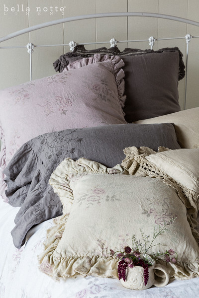Linen with Crochet Lace Euro Sham in French Grey, Emma Euro Sham in Powder, Gabriella Standard Pillowcase in Sand, <br /> Gabriella Standard Pillowcases in French Grey, Linen with Crochet Lace Kidney Pillow in Sand,  Emma 18x18 Throw Pillow in Sand, Emma Queen Duvet Cover in White