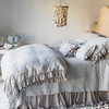 Linen Whisper Pillowcase in Fog, Marguerite Euro Shams in Cloud, Lillian Accent Pillow in Cloud, Marguerite Accent Pillow in Cloud, Marguerite Accent Pillow in Fog, Linen Flat Sheet in Winter White, Marguerite Coverlet in Cloud, Linen Whisper Duvet Cover in Fog, Linen Whisper Bed Skirt in Fog