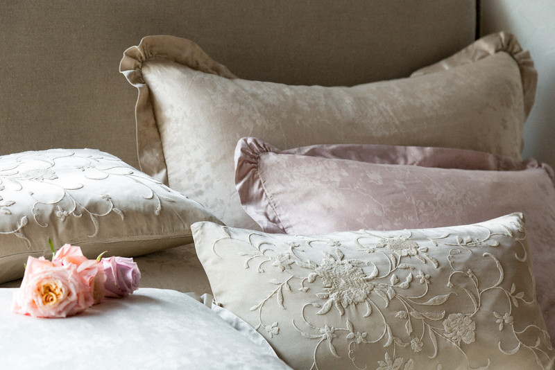 Lillian Deluxe Sham in Sand, Lillian Euro Sham in Champagne, Lillian Standard Sham in Heirloom Rose, Olivia Pillowcase in Sand over Satin Pillowcase in Champagne, Josephine Accent Pillows in Sand