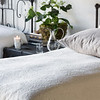 Florence Euro Sham in Winter White, Linen Pillowcase in Fog, Florence Coverlet in Winter White