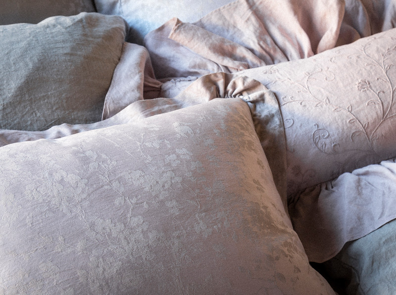 Lillian Standard Sham in Powder, Gabriella Kidney Pillow in Powder