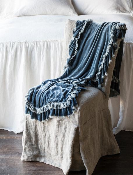 Loulah Throw Blanket in Mineral, Linen Whisper Bedspread in Winter White