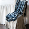 Loulah Throw Blanket in Mineral, Linen Whisper Bedspread in Winter White