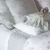 June Euro Shams in Cloud, Emma Euro Sham in Cloud, Emma Euro Sham in White, June Standard Sham in White, Emma Accent Pillow in Seaglass, Gabriella Kidney Pillow in Seaglass, Emma Duvet Cover in White, June Coverlet in Cloud