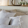 June Deluxe Shams in Sand, Capri Euro Shams in White, Linen Whisper Pillowcase in White, Capri Accent Pillow in White