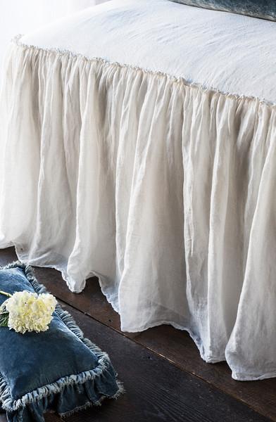 Linen Whisper Bedspread in Winter White, Loulah Kidney Pillow in Mineral