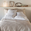 June Deluxe Shams in Sand, Capri Euro Shams in White, Linen Whisper Pillowcases in White, Capri Accent Pillow in White, June Coverlet in Sand
