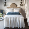 Linen Whisper Deluxe Shams in Winter White, Linen with Crochet Lace Pillowcases in Winter White, Linen Whisper Pillowcases in Winter White, Loulah Bolster in Mineral, Linen Whisper Bedspread in Winter White, Loulah Throw Blanket in Mineral, Linen Whisper Curtain Panel in Winter White