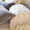 Seville Royal Shams in Powder, Linen Whisper Deluxe Shams in Parchment, Olivia King Pillowcases in Powder, Satin with Venise Lace King Pillowcases in Parchment, Carmen Lumbar Pillows in Powder, Seville King Bedspread in Powder, Olivia Bed Throw in Parchment