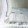 Isabella Deluxe Sham in White, Paloma Euro Sham in Eucalyptus, <br /> Josephine Accent Pillow in Eucalyptus, Valentina Kidney Pillow in Mineral, Isabella King Duvet Cover in White, Paloma Personal Comforter in Eucalyptus