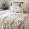 Seville Royal Shams in Powder, Olivia King Pillowcases in Powder, Satin with Venise Lace King Pillowcases in Parchment, Linen Whisper Lumbar Pillow in Parchment, Seville King Bedspread in Powder, Linen Whisper Wedding Blanket in Parchment, Seville King Bed Skirt in Powder