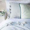 Seville Royal Sham in White, Marguerite Euro Sham in Cloud, Paloma Euro Sham in Eucalyptus, Linen King Flat Sheet in White, Marguerite King Duvet Cover in Cloud