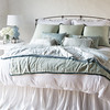 Isabella Deluxe Shams in White, Paloma Euro Shams in Eucalyptus, <br /> Josephine Accent Pillows in Eucalyptus, Valentina Kidney Pillows in Mineral, Isabella King Duvet Cover in White, Paloma Personal Comforter in Eucalyptus, Paloma Personal Comforter in Cloud, Paloma King Bed Skirt in White