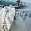 Frida Queen Coverlet in Eucalyptus, Carmen Kidney Pillow in Eucalyptus, Linen Whisper Queen Bed Scarf in Parchment