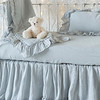 Linen Whisper Baby Comforter in Cloud, Linen Whisper Crib Skirt in Cloud, Linen Crib Sheet in Cloud, Linen Whisper Kidney Pillow in Cloud