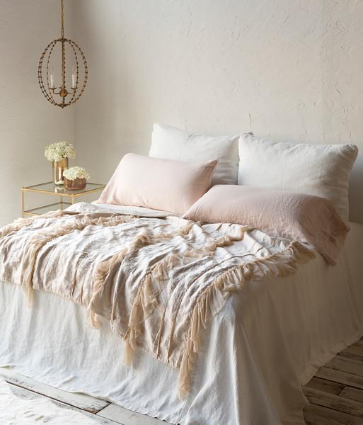Seville Royal Shams In Winter White, Linen King Pillowcases In Pearl, <br /> Seville King Coverlet In Winter White, Valentina Wedding Blanket In Pearl