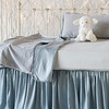 Helane Accent Pillow in Cloud, Helane Baby Blanket in Cloud, Madera Luxe Crib Sheet in Cloud, Satin Crib Skirt in Cloud